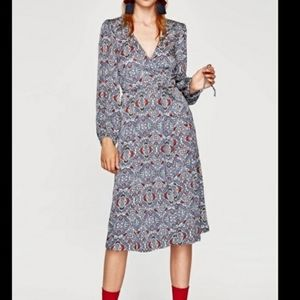 Zara Jaquard Wrap Dress Sz S
